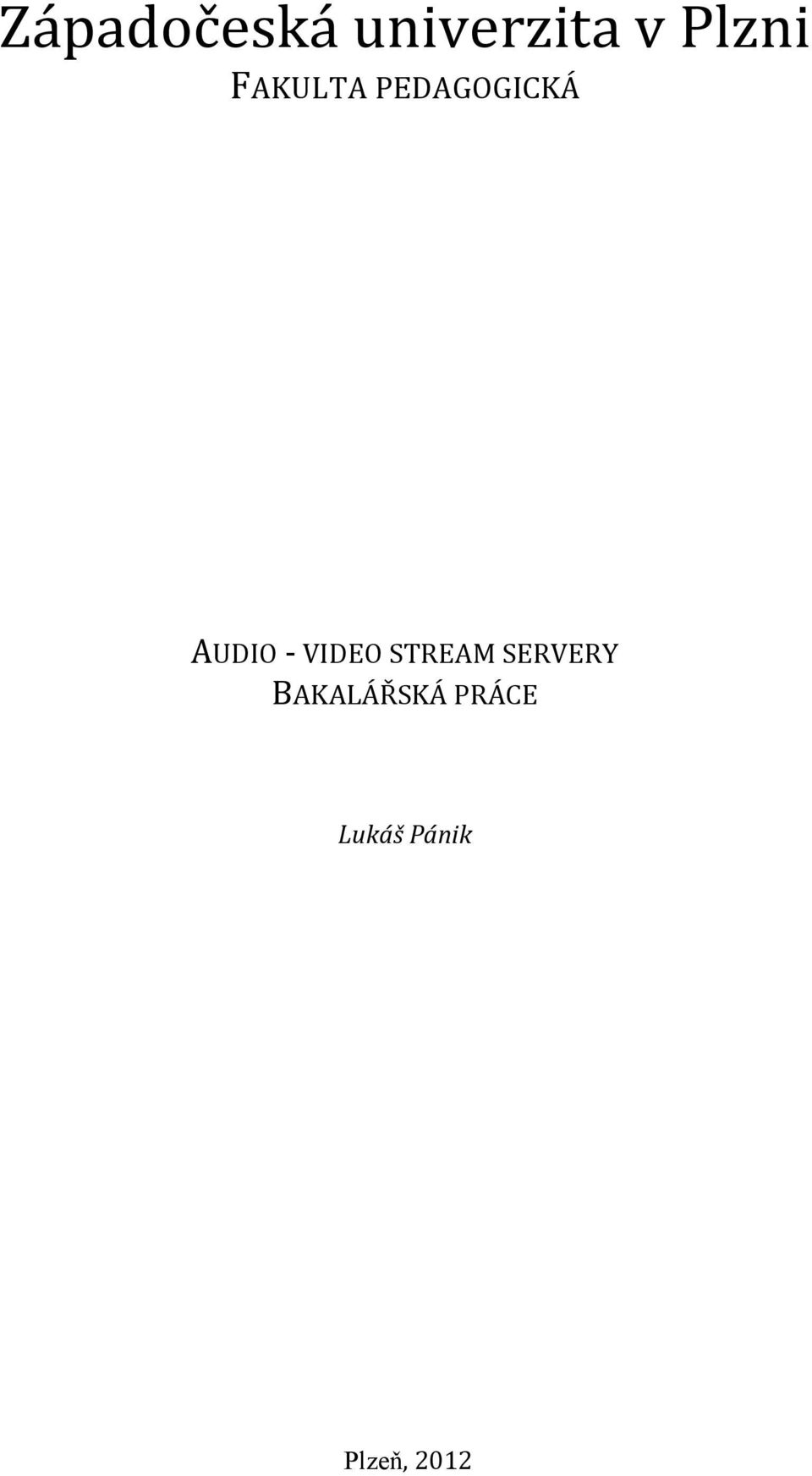 AUDIO - VIDEO STREAM SERVERY