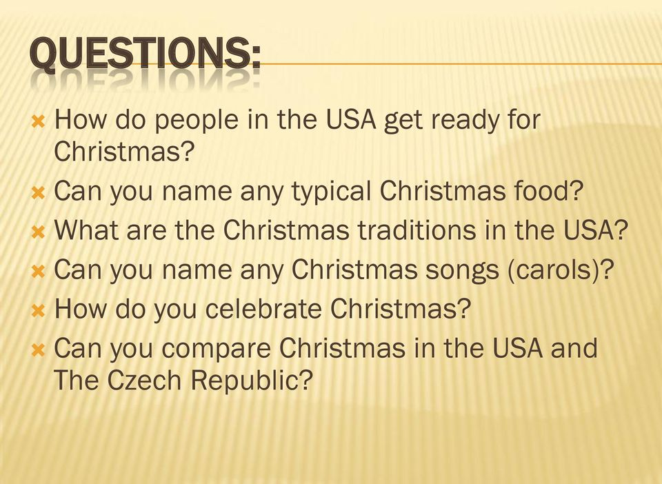 What are the Christmas traditions in the USA?