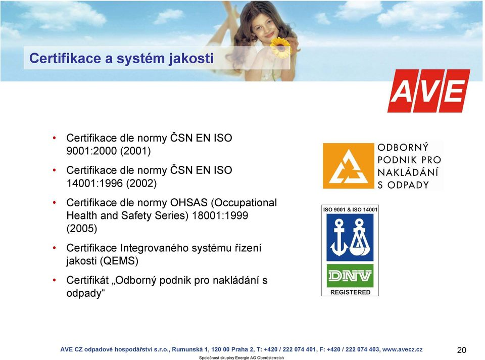 (Occupational Health and Safety Series) 18001:1999 (2005) Certifikace