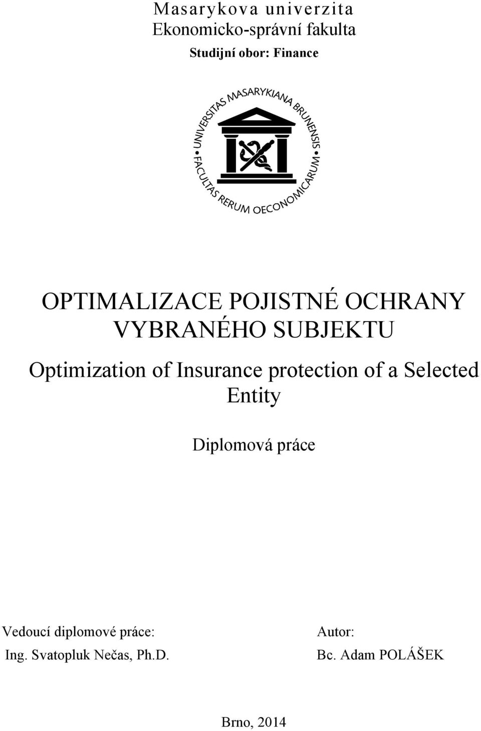 of Insurance protection of a Selected Entity Diplomová práce Vedoucí