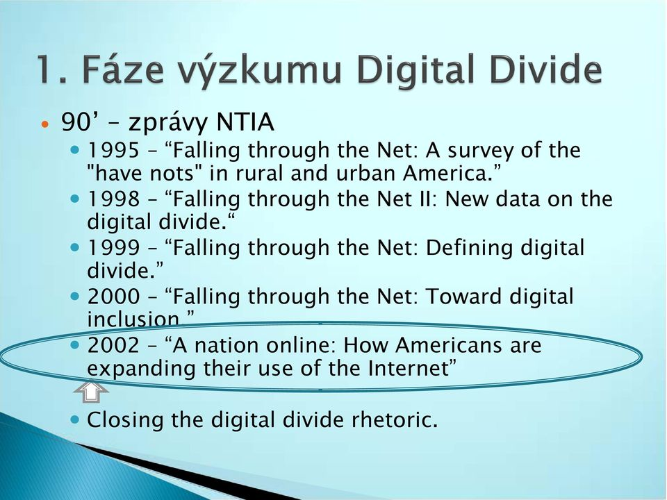 1999 Falling through the Net: Defining digital divide.