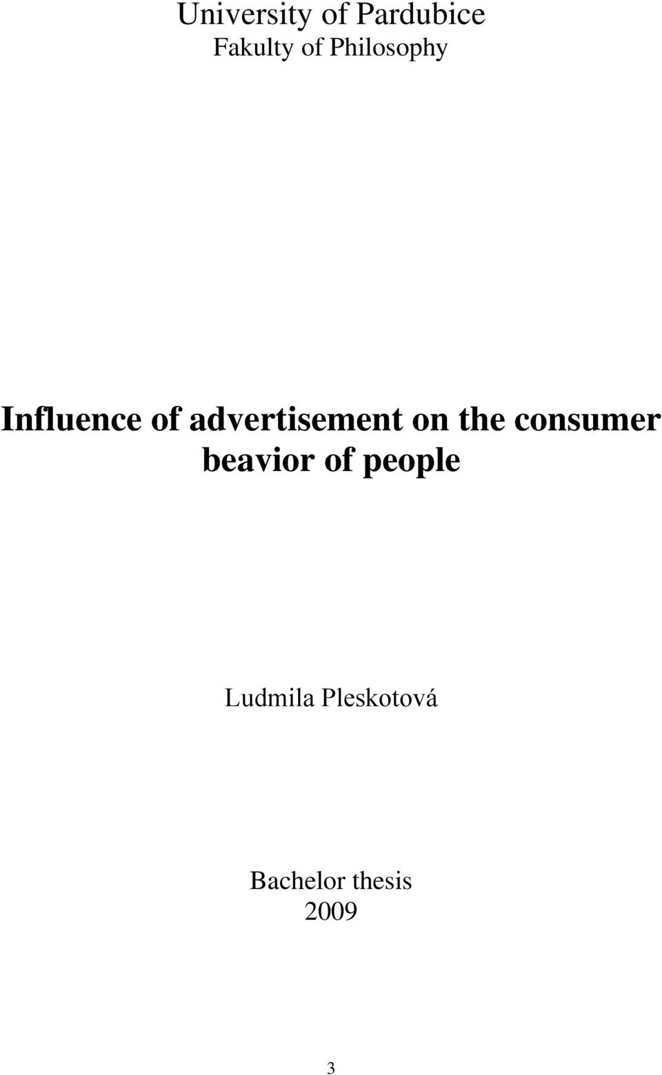 advertisement on the consumer