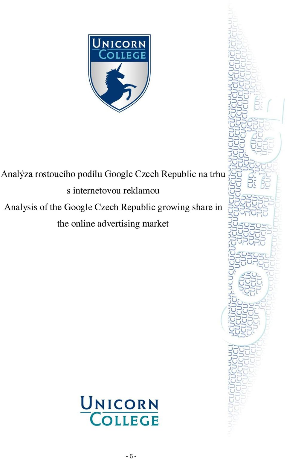 Analysis of the Google Czech Republic