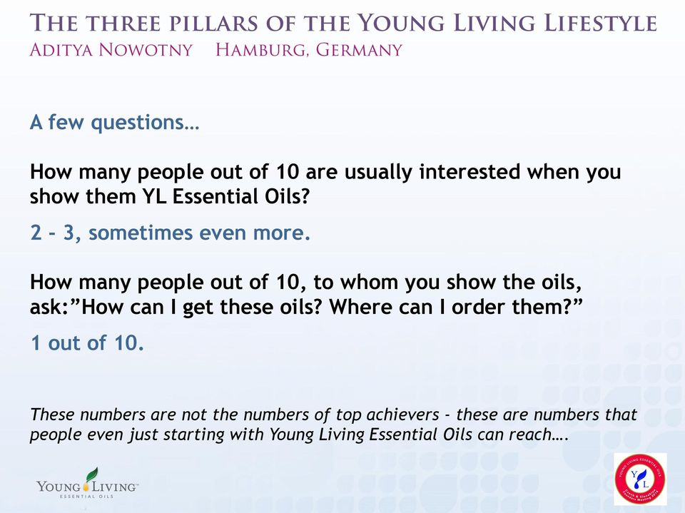 How many people out of 10, to whom you show the oils, ask: How can I get these oils? Where can I order them?