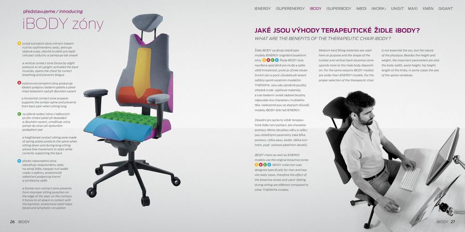 pressure to sit upright, activates the back muscles, opens the chest for correct breathing and prevents fatigue B vodorovná kontaktní zóna poskytuje ideální podporu bederní páteře a předchází