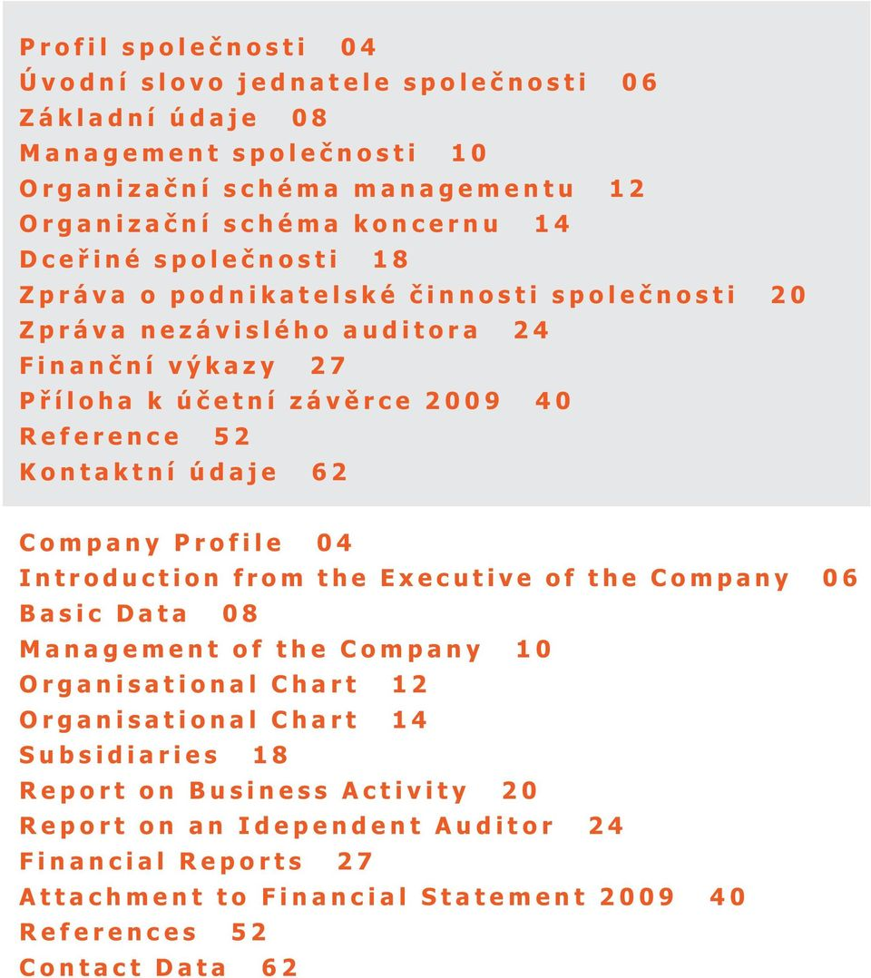 Kontaktní údaje 6 Company Profile 04 Introduction from the Executive of the Company 06 Basic Data 08 Management of the Company 10 Organisational Chart 1 Organisational