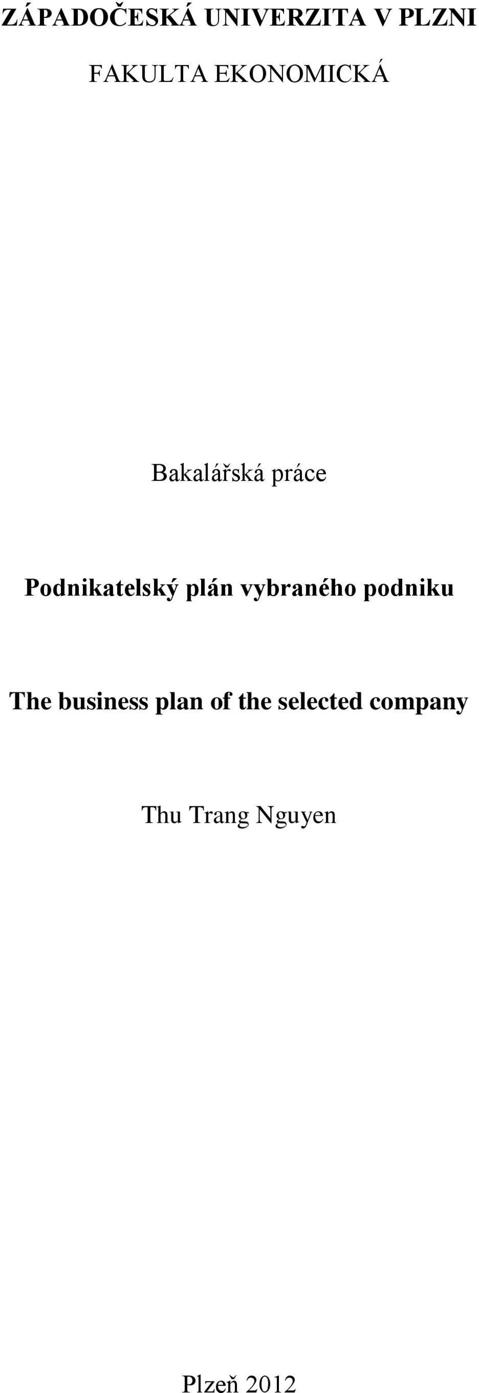 plán vybraného podniku The business plan of