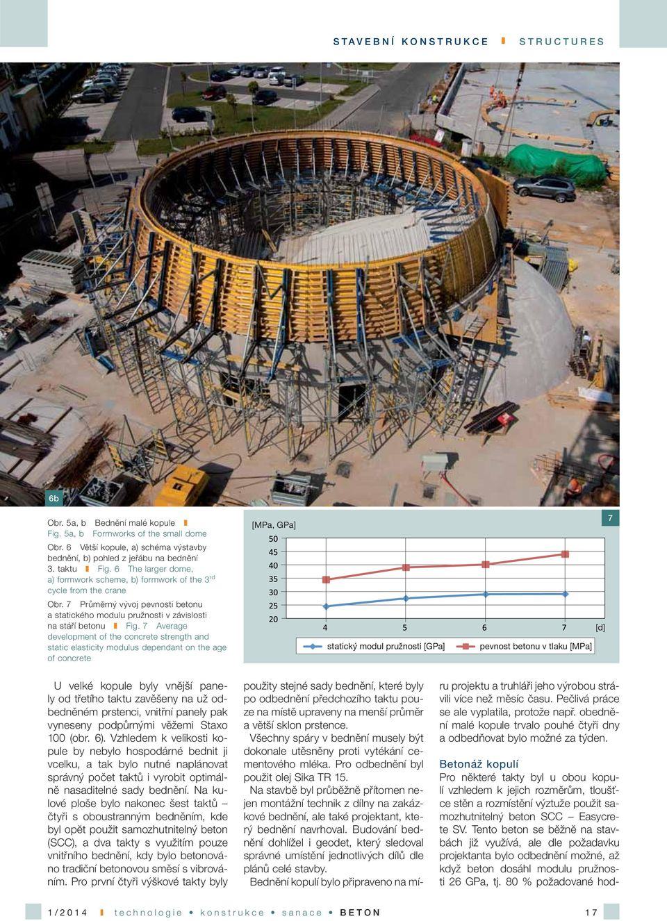7 Average development of the concrete strength and static elasticity modulus dependant on the age of concrete [MPa, GPa] Betonáž kopulí Pro některé takty byl u obou kopulí vzhledem k jejich rozměrům,