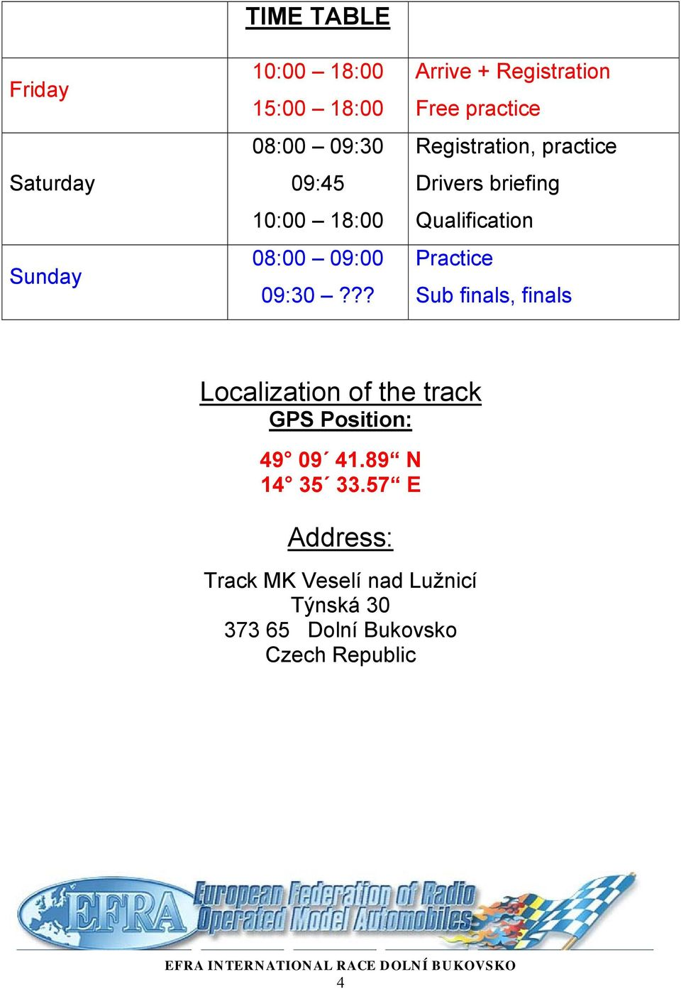 ?? Arrive + Registration Free practice Registration, practice Drivers briefing Qualification