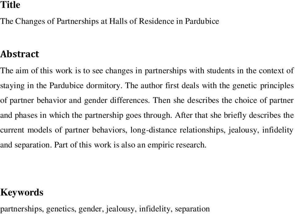 Then she describes the choice of partner and phases in which the partnership goes through.