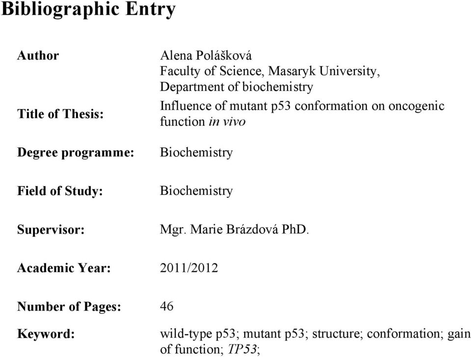 function in vivo Biochemistry Field of Study: Biochemistry Supervisor: Mgr. Marie Brázdová PhD.