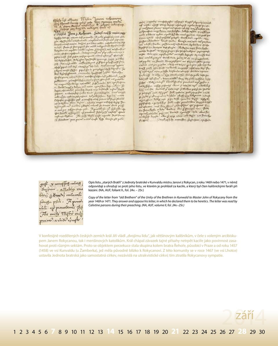 ) Copy of the letter from old Brethern of the Unity of the Brethren in Kunwald to Master John of Rokycany from the year 1469 or 1471.