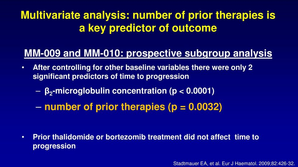 to progression β 2 -microglobulin concentration (p < 0.0001) number of prior therapies (p = 0.