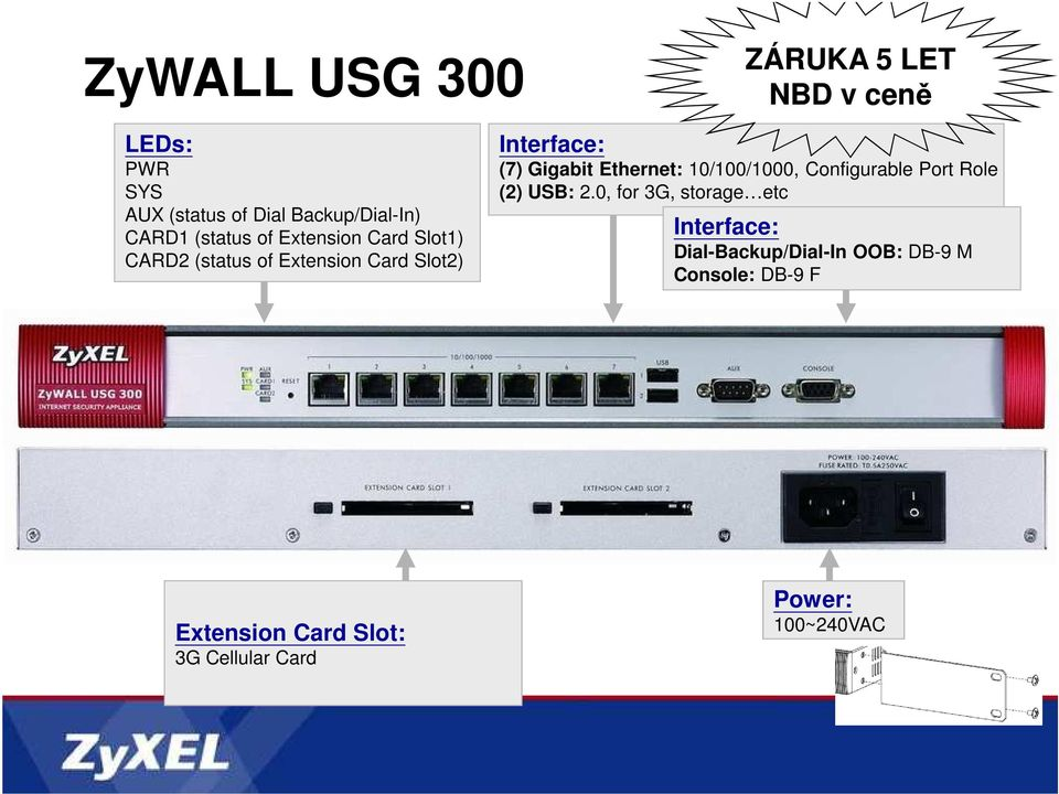 Ethernet: 10/100/1000, Configurable Port Role (2) USB: 2.