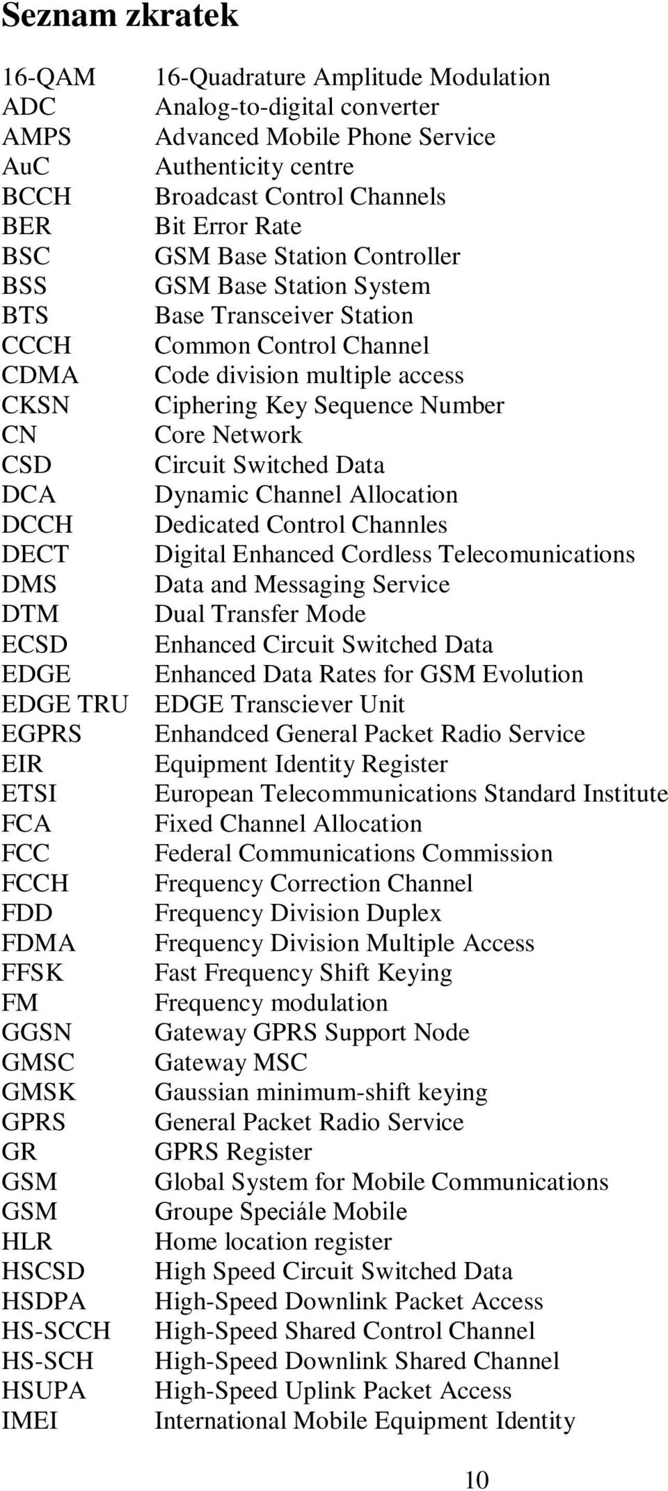 Network CSD Circuit Switched Data DCA Dynamic Channel Allocation DCCH Dedicated Control Channles DECT Digital Enhanced Cordless Telecomunications DMS Data and Messaging Service DTM Dual Transfer Mode