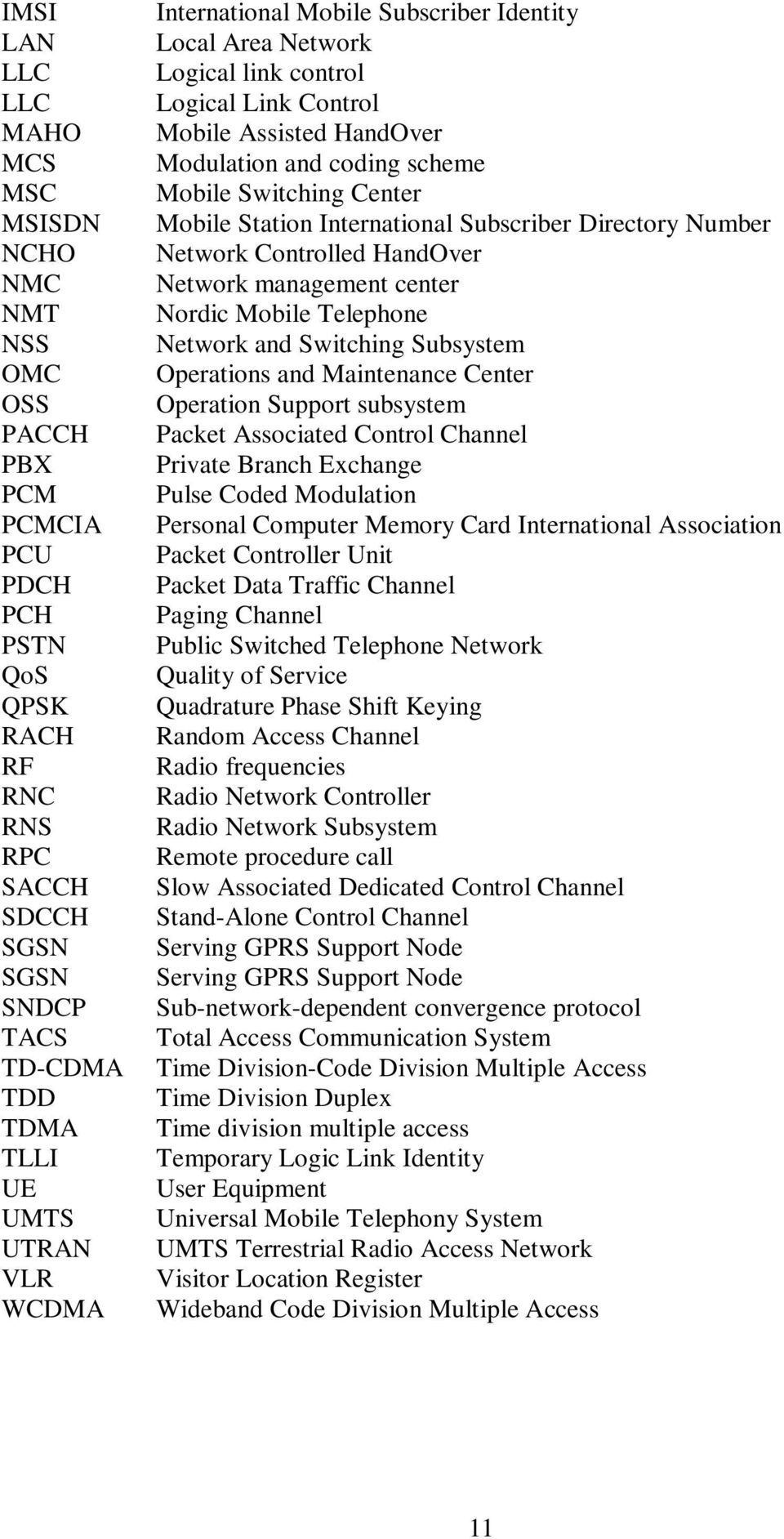 Station International Subscriber Directory Number Network Controlled HandOver Network management center Nordic Mobile Telephone Network and Switching Subsystem Operations and Maintenance Center