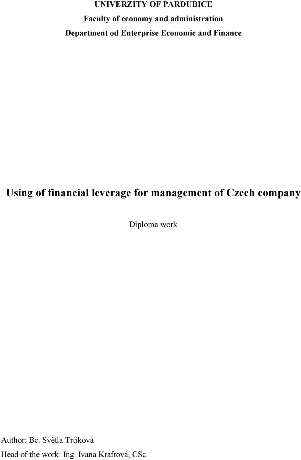 financial leverage for management of Czech company Diploma