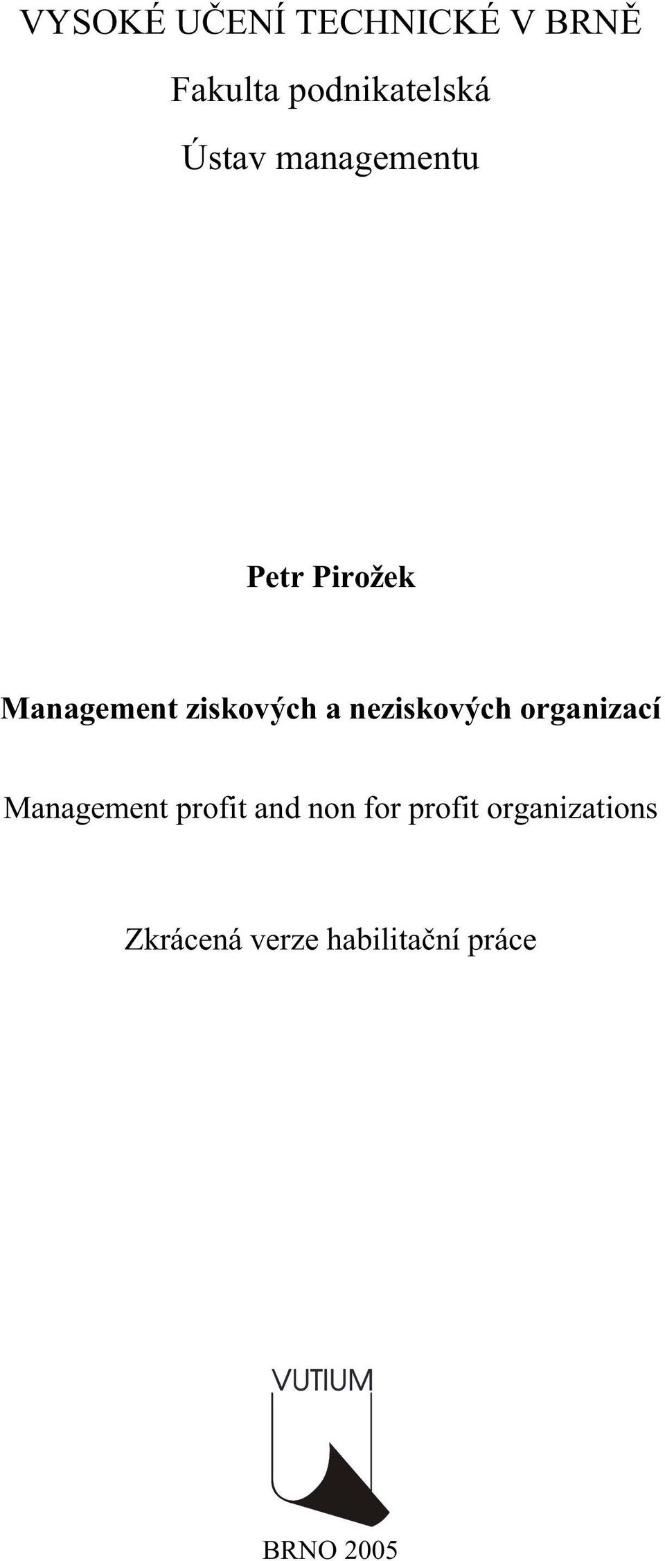 neziskových organizací Management profit and non for
