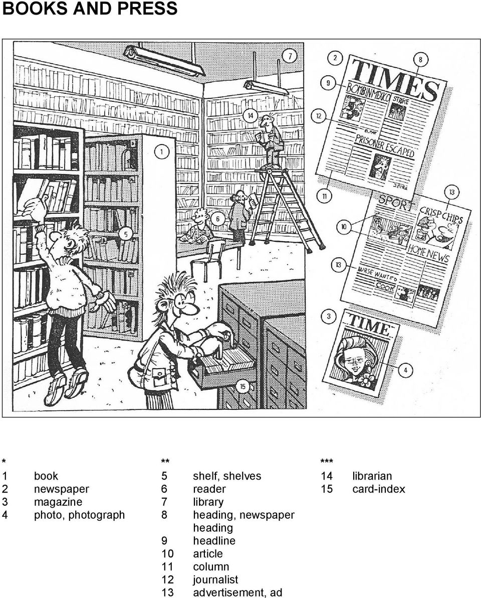 library 4 photo, photograph 8 heading, newspaper heading 9
