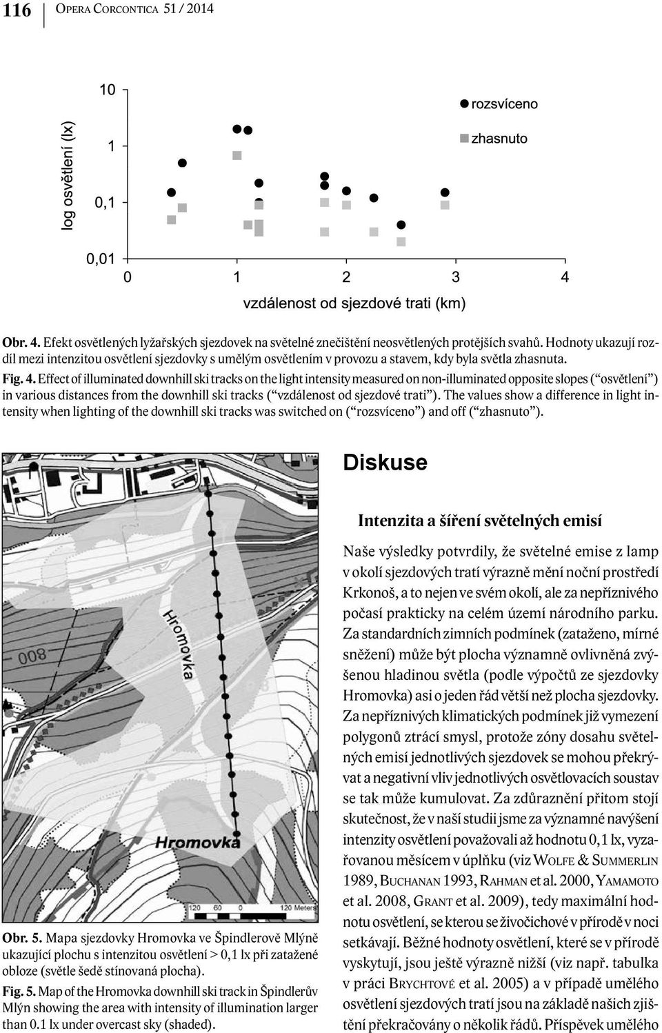 Effect of illuminated downhill ski tracks on the light intensity measured on non-illuminated opposite slopes ( osvětlení ) in various distances from the downhill ski tracks ( vzdálenost od sjezdové