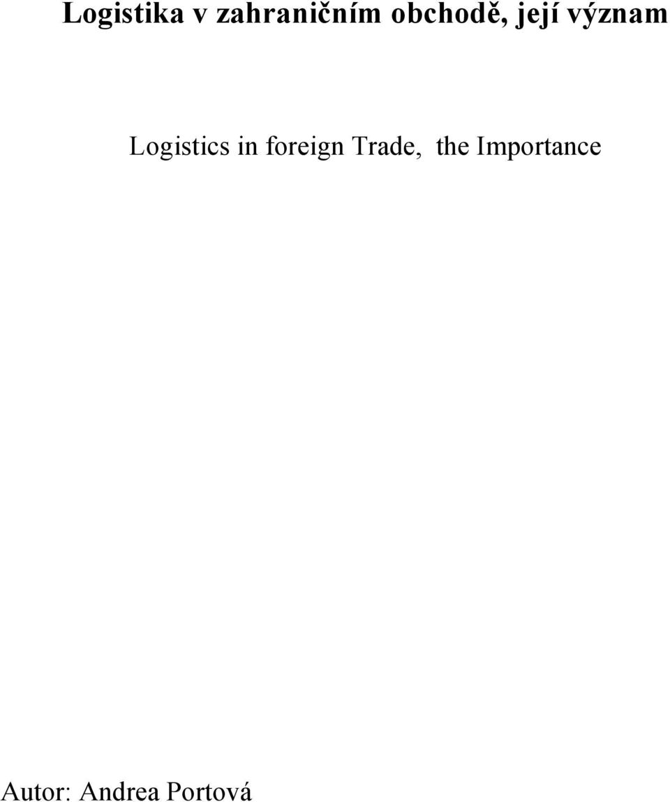 Logistics in foreign Trade,