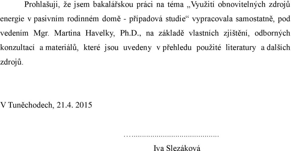 Martina Havelky, Ph.D.