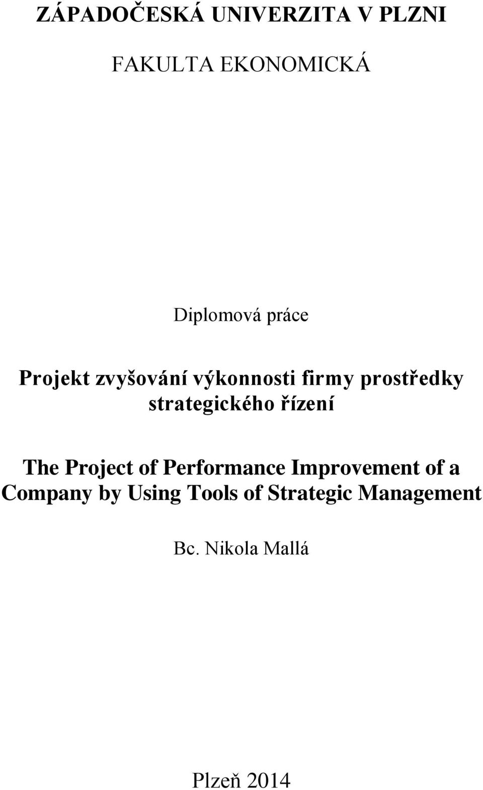 strategického řízení The Project of Performance Improvement of