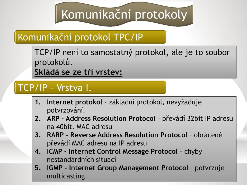 ARP - Address Resolution Protocol převádí 32bit IP adresu na 40bit. MAC adresu 3.