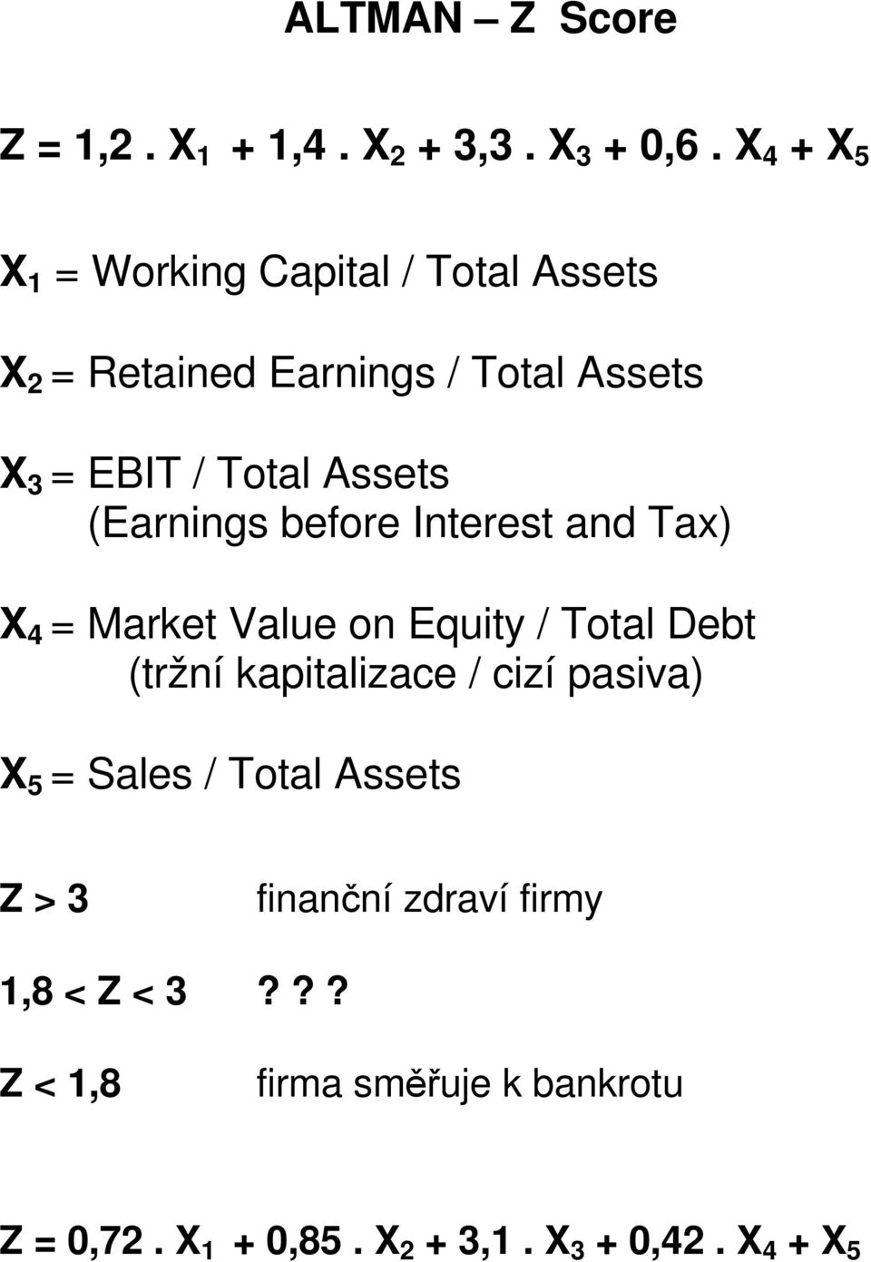 Assets (Earnings before Interest and Tax) X 4 = Market Value on Equity / Total Debt (tržní kapitalizace