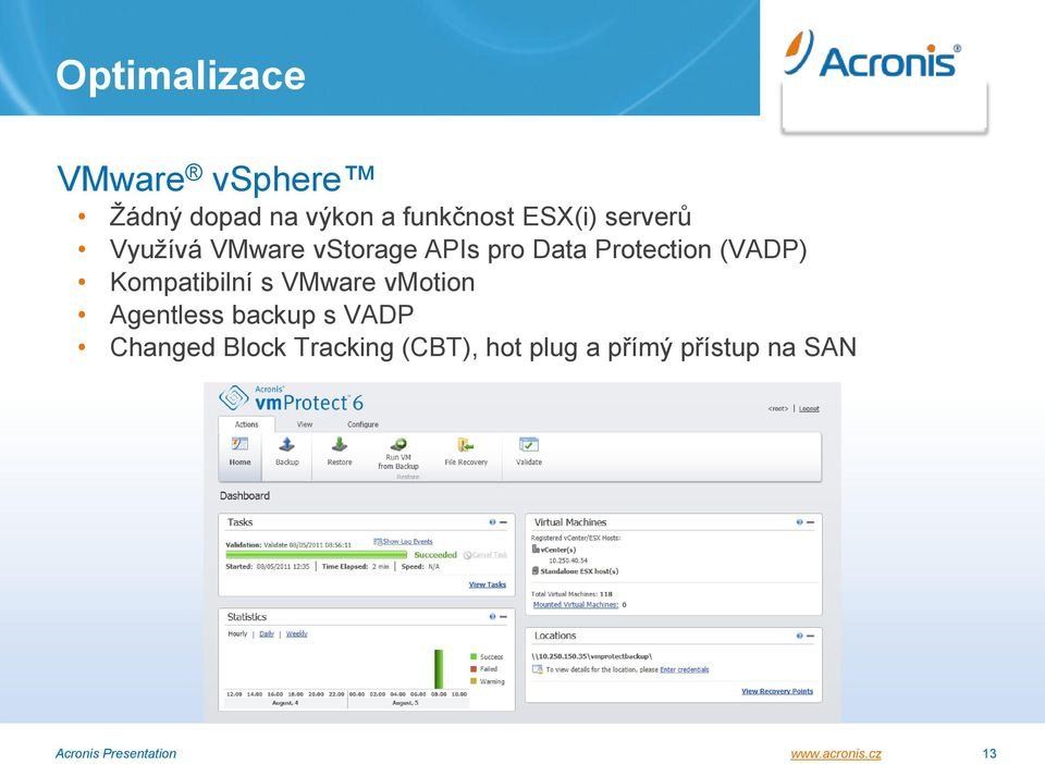 Kompatibilní s VMware vmotion Agentless backup s VADP Changed Block