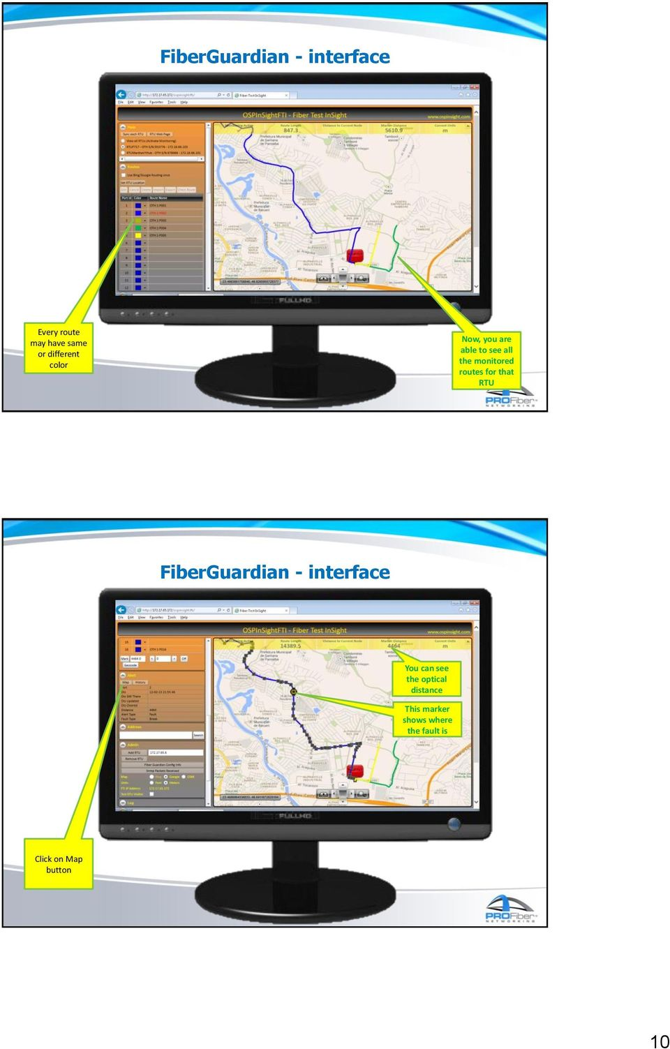 routes for that RTU FiberGuardian - interface You can see the