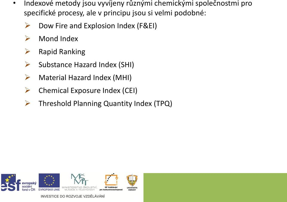 (F&EI) Mond Index Rapid Ranking Substance Hazard Index (SHI) Material Hazard
