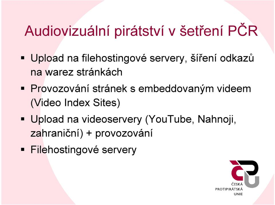 embeddovaným videem (Video Index Sites) Upload na videoservery