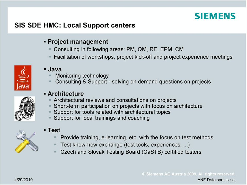 projects Short-term participation on projects with focus on architecture Support for tools related with architectural topics Support for local trainings and coaching
