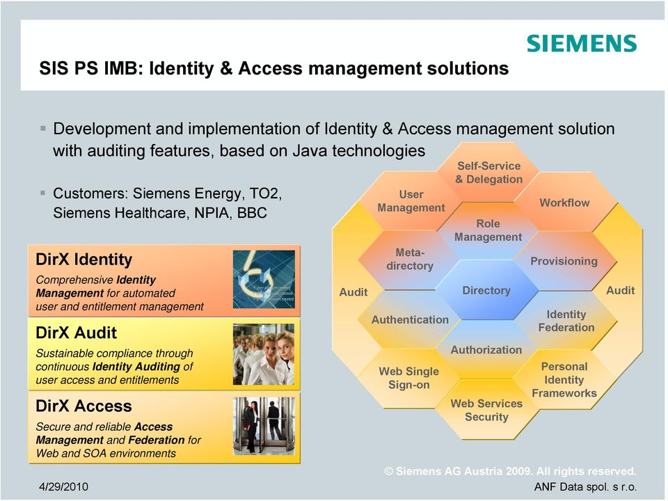 continuous Identity Auditing of user access and entitlements DirX Access Secure and reliable Access Management and Federation for Web and SOA environments User Management Metadirectory
