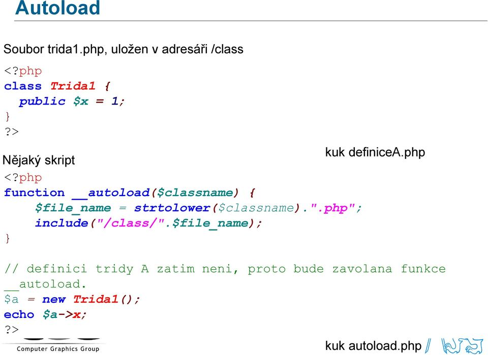 "php function autoload($classname) { $file_name = strtolower($classname).""."