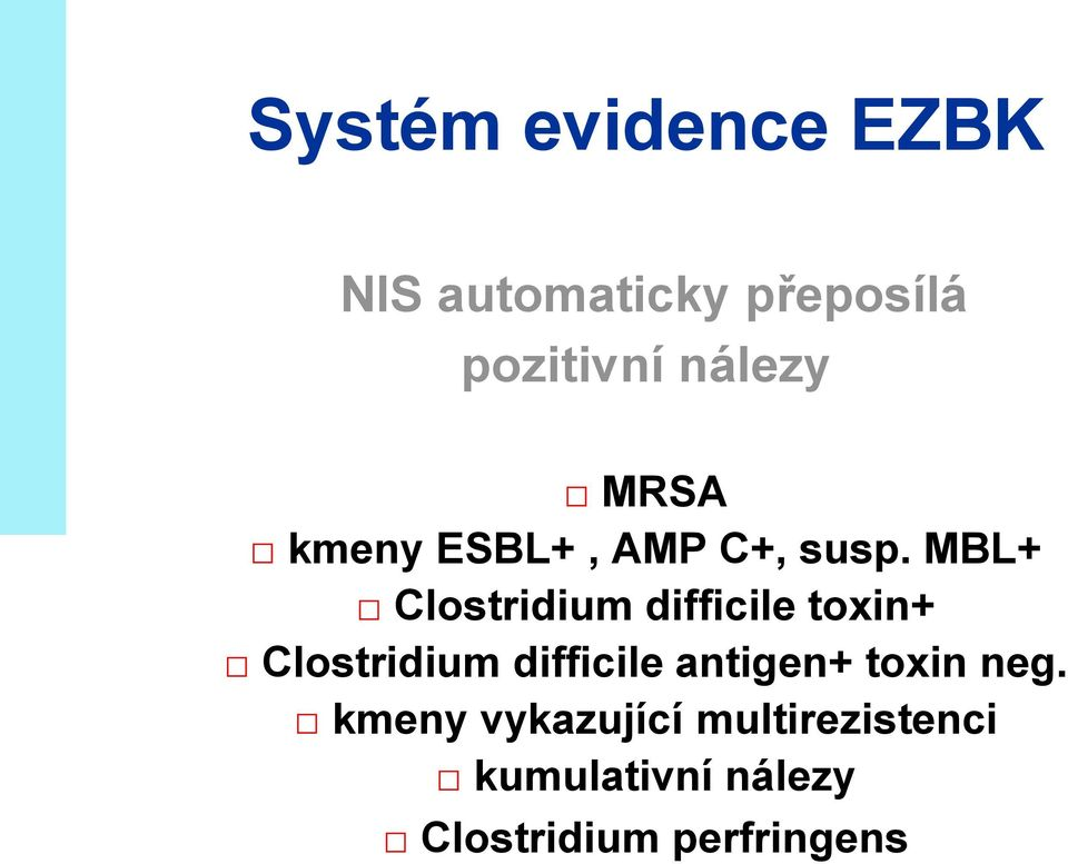 MBL+ Clostridium difficile toxin+ Clostridium difficile