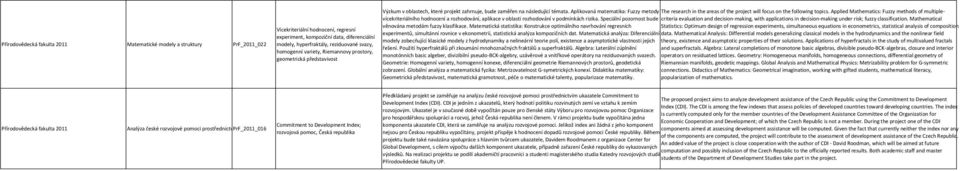 Aplikovaná matematika: Fuzzy metody The research in the areas of the project will focus on the following topics.