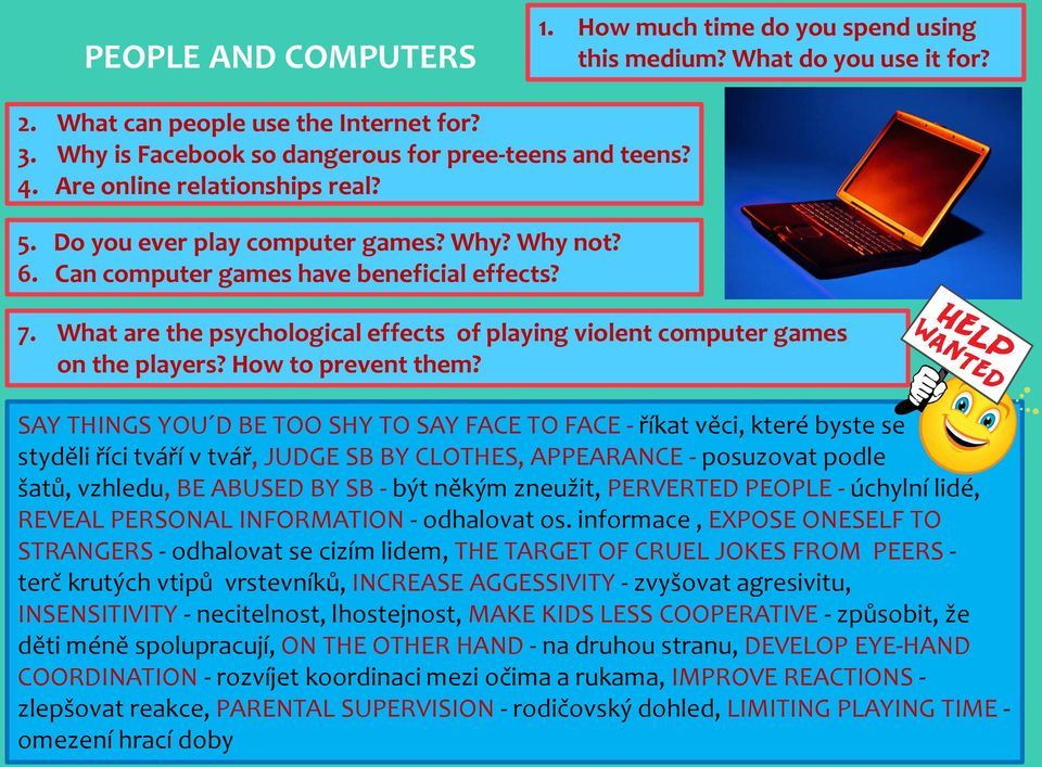 What are the psychological effects of playing violent computer games on the players? How to prevent them?