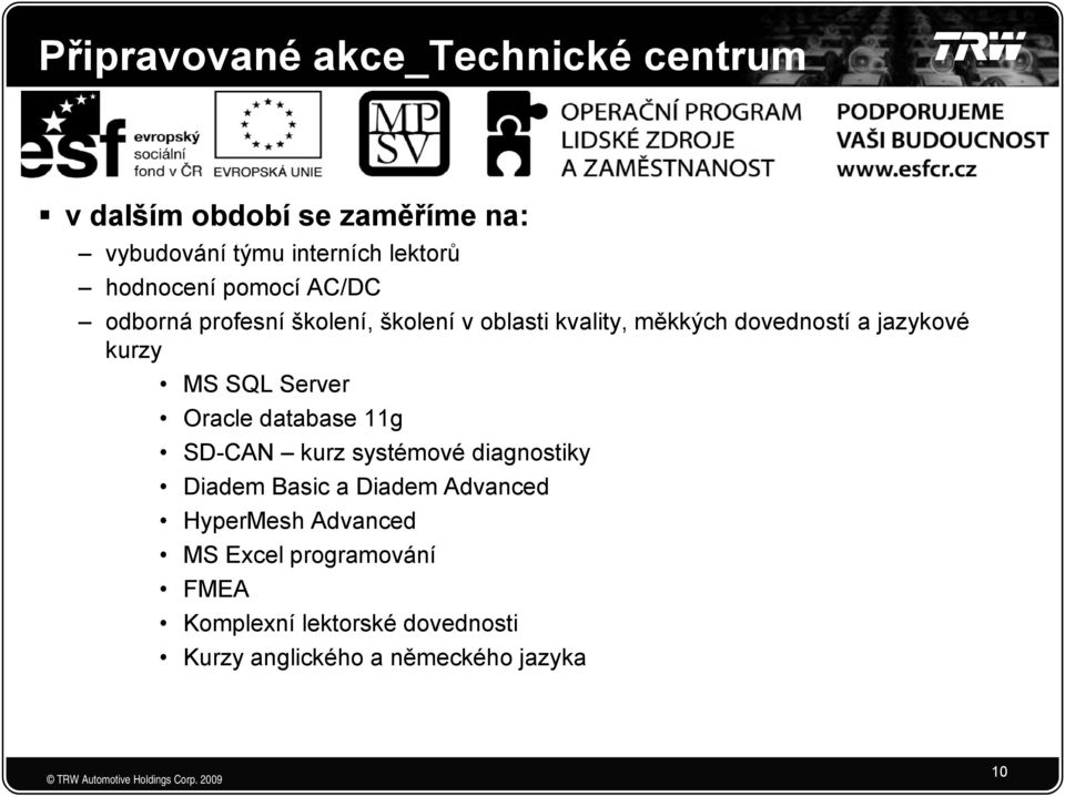 kurzy MS SQL Server Oracle database 11g SD-CAN kurz systémové diagnostiky Diadem Basic a Diadem Advanced