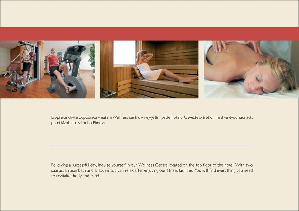 Following a successful day, indulge yourself in our Wellness Centre located on the top floor of the