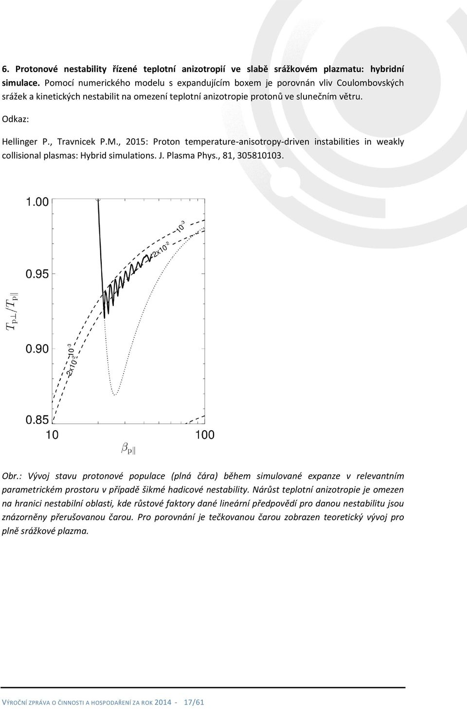 , Travnicek P.M., 2015: Proton temperature-anisotropy-driven instabilities in weakly collisional plasmas: Hybrid simulations. J. Plasma Phys., 81, 305810103. Obr.
