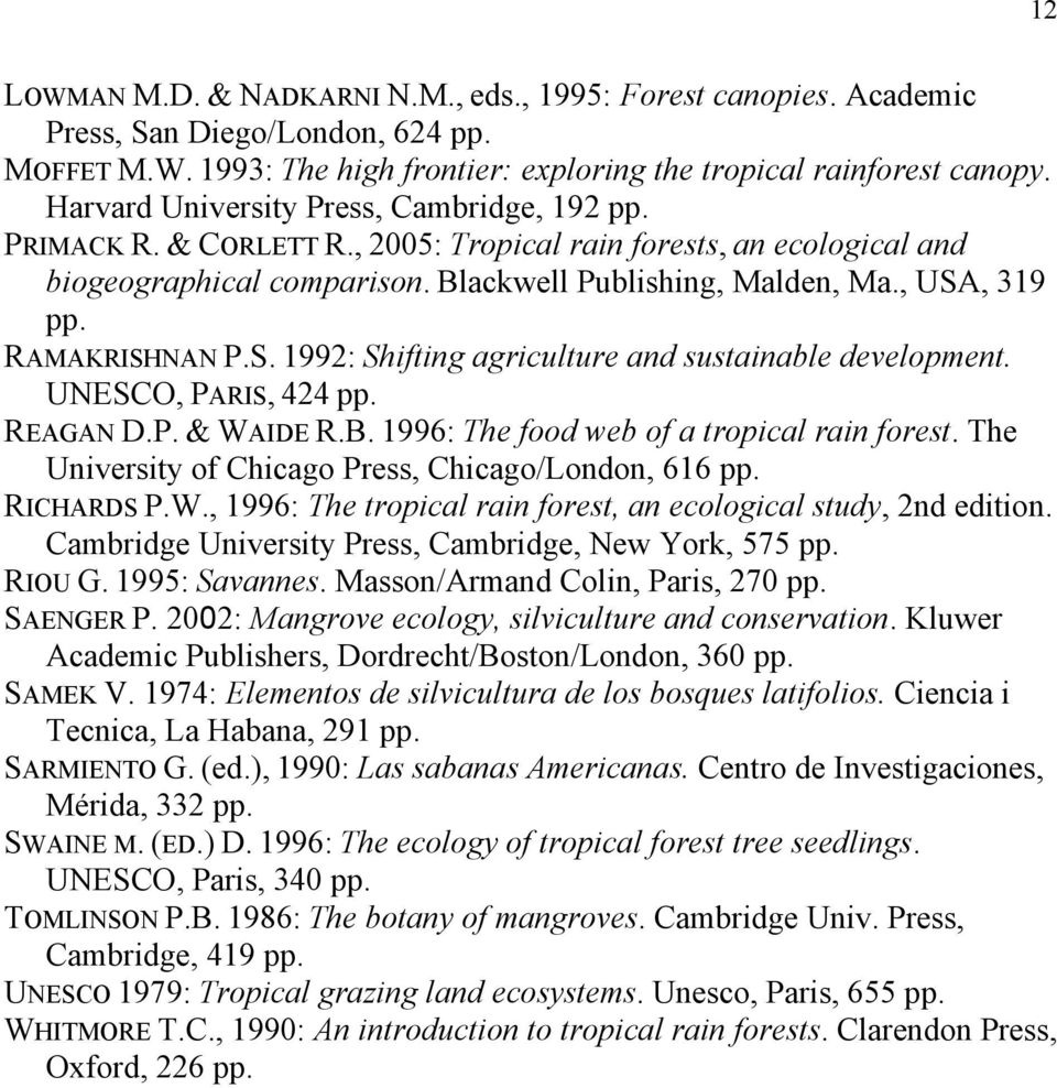 RAMAKRISHNAN P.S. 1992: Shifting agriculture and sustainable development. UNESCO, PARIS, 424 pp. REAGAN D.P. & WAIDE R.B. 1996: The food web of a tropical rain forest.