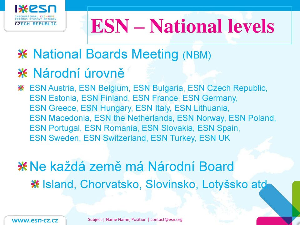 Macedonia, ESN the Netherlands, ESN Norway, ESN Poland, ESN Portugal, ESN Romania, ESN Slovakia, ESN Spain, ESN