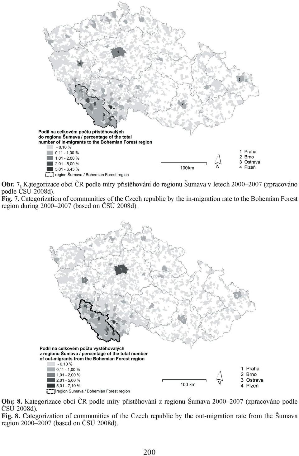 Categorization of communities of the Czech republic by the in-migration rate to the Bohemian Forest region during 2000 2007 (based