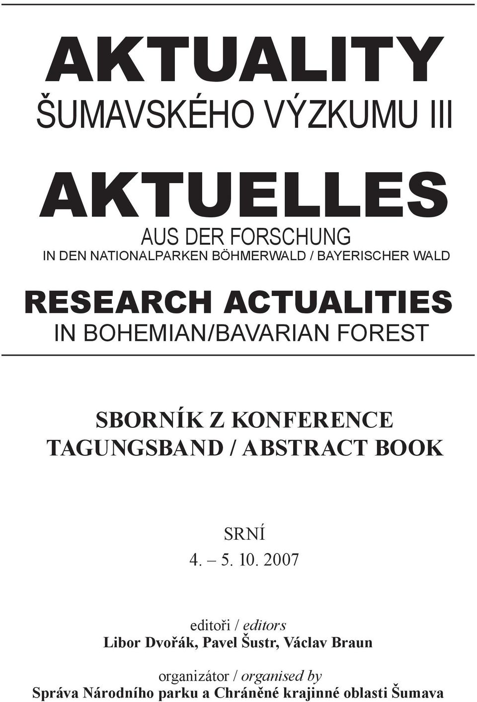 TAGUNGSBAND / ABSTRACT BOOK SRNÍ 4. 5. 10.
