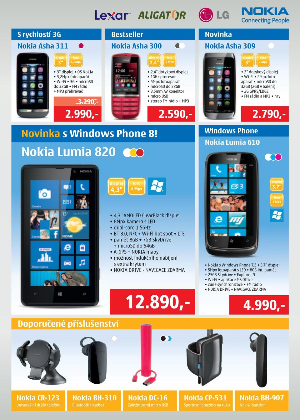 "990,- 2.590,- 2.790,- Novinka s Windows Phone 8! Nokia Lumia 820 Windows Phone Nokia Lumia 610 4,3"" 3,7"" 4,3"" AMOLED ClearBlack 8Mpx kamera s LED dual-core 1,5GHz BT 3."