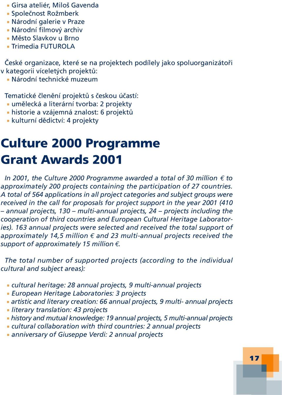 kulturní dědictví: 4 projekty Culture 2000 Programme Grant Awards 2001 In 2001, the Culture 2000 Programme awarded a total of 30 million to approximately 200 projects containing the participation of