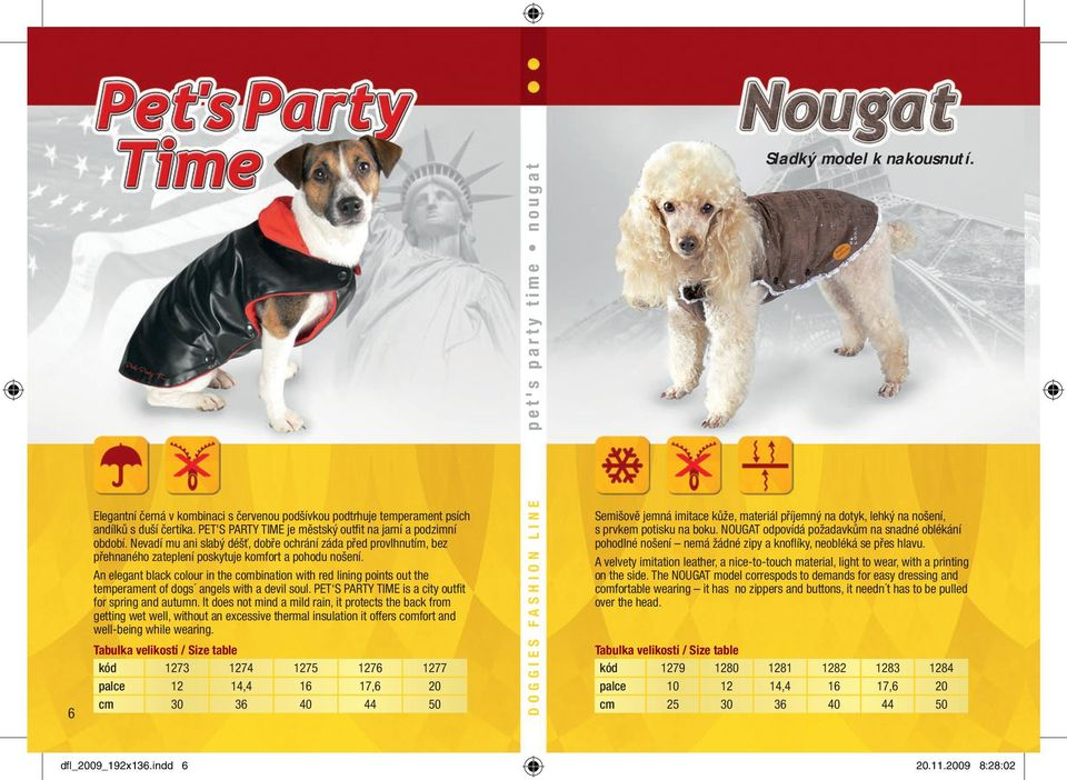 An elegant black colour in the combination with red lining points out the temperament of dogs angels with a devil soul. PET S PARTY TIME is a city outfi t for spring and autumn.