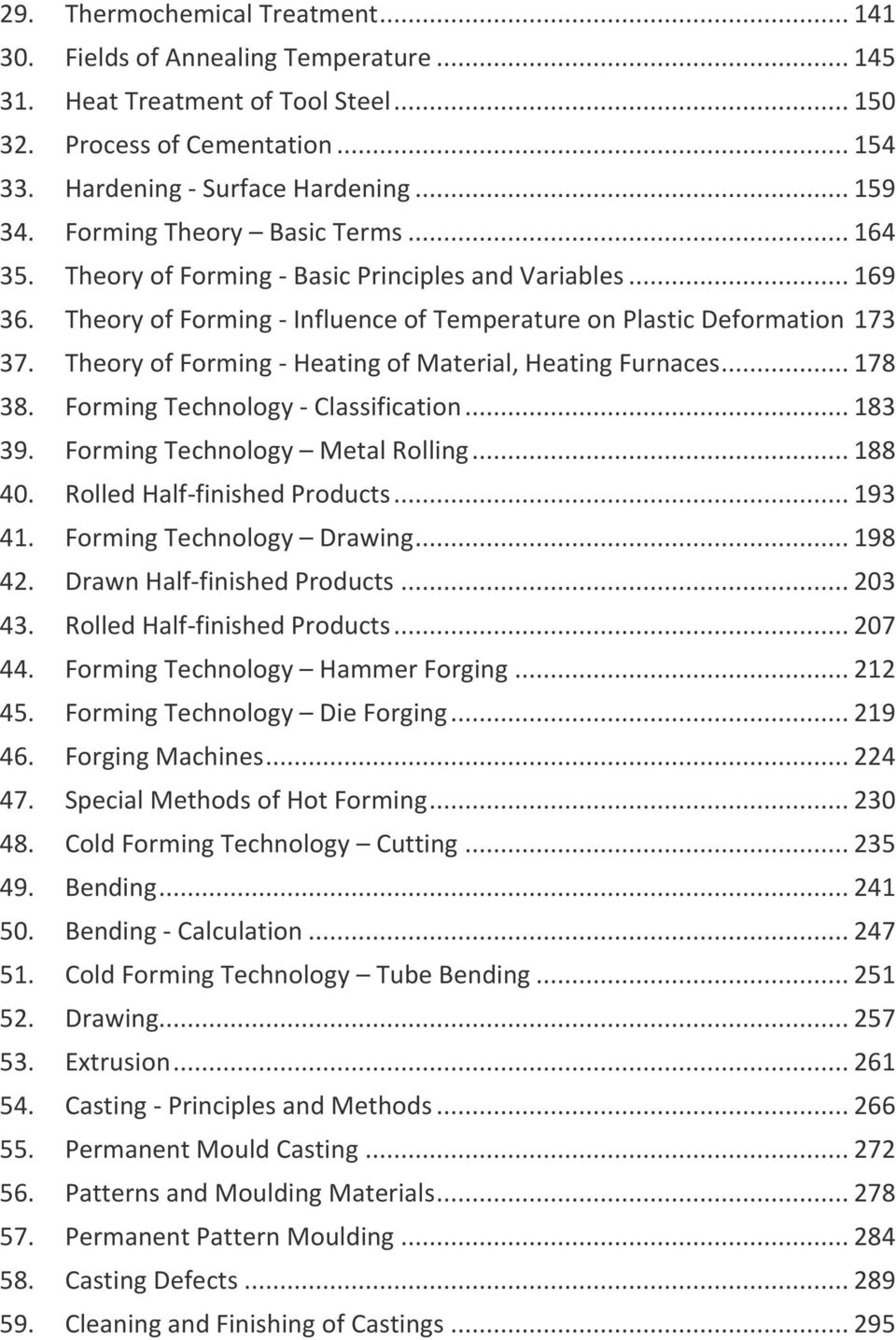 Theory of Forming - Heating of Material, Heating Furnaces... 178 38. Forming Technology - Classification... 183 39. Forming Technology Metal Rolling... 188 40. Rolled Half-finished Products... 193 41.